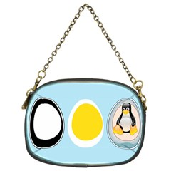Linux Tux Penguin In The Egg Chain Purse (two Sided)