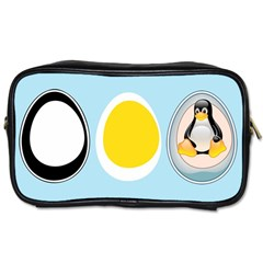 Linux Tux Penguin In The Egg Travel Toiletry Bag (one Side)