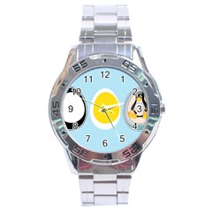 Linux Tux Penguin In The Egg Stainless Steel Watch