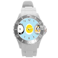 LINUX TUX PENGUIN IN THE EGG Plastic Sport Watch (Large)