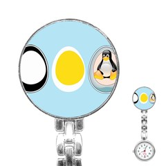 LINUX TUX PENGUIN IN THE EGG Stainless Steel Nurses Watch