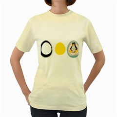 Linux Tux Penguin In The Egg  Womens  T Shirt (yellow)