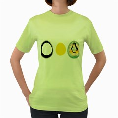 Linux Tux Penguin In The Egg Womens  T Shirt (green)