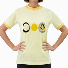 LINUX TUX PENGUIN IN THE EGG Womens  Ringer T-shirt (Colored)