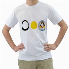 LINUX TUX PENGUIN IN THE EGG Mens  T-shirt (White)