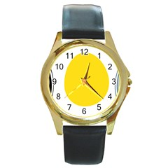 LINUX TUX PENGUIN IN THE EGG Round Leather Watch (Gold Rim)