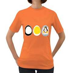 Linux Tux Penguin In The Egg Womens' T Shirt (colored)
