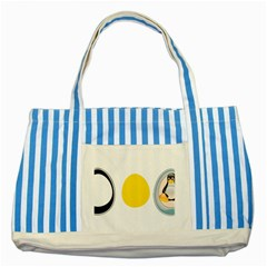 LINUX TUX PENGUIN IN THE EGG Blue Striped Tote Bag