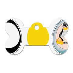 LINUX TUX PENGUIN IN THE EGG Dog Tag Bone (Two Sided)