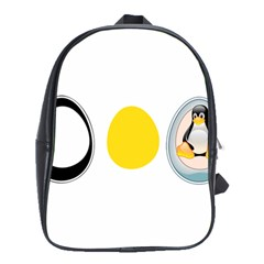 LINUX TUX PENGUIN IN THE EGG School Bag (Large)