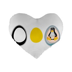 LINUX TUX PENGUIN IN THE EGG 16  Premium Heart Shape Cushion