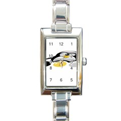 LINUX TUX PENGION AND EGGS Rectangular Italian Charm Watch