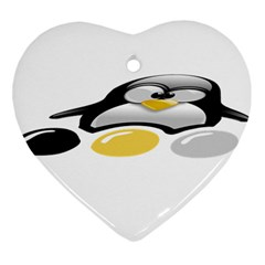 LINUX TUX PENGION AND EGGS Heart Ornament