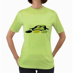 LINUX TUX PENGION AND EGGS Womens  T-shirt (Green)