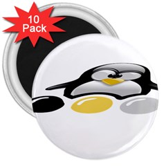 LINUX TUX PENGION AND EGGS 3  Button Magnet (10 pack)