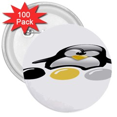 LINUX TUX PENGION AND EGGS 3  Button (100 pack)