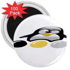 LINUX TUX PENGION AND EGGS 3  Button Magnet (100 pack)