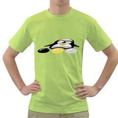 LINUX TUX PENGION AND EGGS Mens  T-shirt (Green)