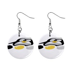 LINUX TUX PENGION AND EGGS Mini Button Earrings