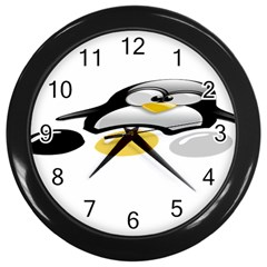LINUX TUX PENGION AND EGGS Wall Clock (Black)