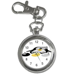 Linux Tux Pengion And Eggs Key Chain & Watch