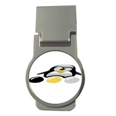 Linux Tux Pengion And Eggs Money Clip (round)