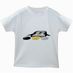 LINUX TUX PENGION AND EGGS Kids' T-shirt (White)