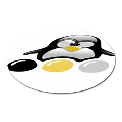 LINUX TUX PENGION AND EGGS Magnet (Oval)