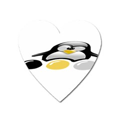 LINUX TUX PENGION AND EGGS Magnet (Heart)