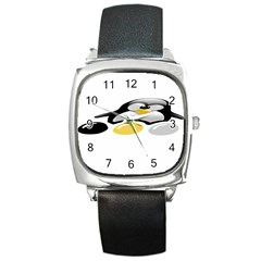 LINUX TUX PENGION AND EGGS Square Leather Watch