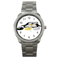 LINUX TUX PENGION AND EGGS Sport Metal Watch