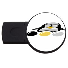 Linux Tux Pengion And Eggs 4gb Usb Flash Drive (round)