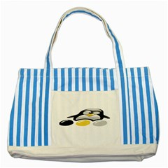 LINUX TUX PENGION AND EGGS Blue Striped Tote Bag