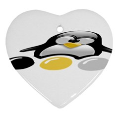 LINUX TUX PENGION AND EGGS Heart Ornament (Two Sides)