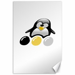 LINUX TUX PENGION AND EGGS Canvas 24  x 36  (Unframed)
