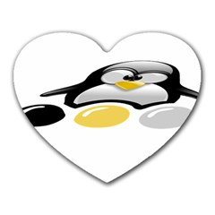 LINUX TUX PENGION AND EGGS Mouse Pad (Heart)