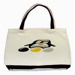 LINUX TUX PENGION AND EGGS Twin-sided Black Tote Bag