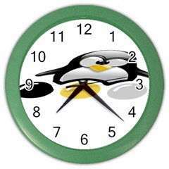 LINUX TUX PENGION AND EGGS Wall Clock (Color)