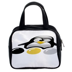 LINUX TUX PENGION AND EGGS Classic Handbag (Two Sides)