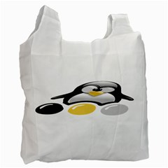 Linux Tux Pengion And Eggs Recycle Bag (two Sides)