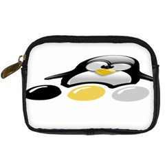 LINUX TUX PENGION AND EGGS Digital Camera Leather Case