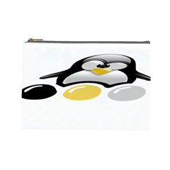 Linux Tux Pengion And Eggs Cosmetic Bag (large)