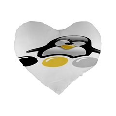 LINUX TUX PENGION AND EGGS 16  Premium Heart Shape Cushion