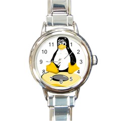 linux black side up egg Round Italian Charm Watch