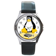 linux black side up egg Round Leather Watch (Silver Rim)