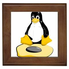 linux black side up egg Framed Ceramic Tile