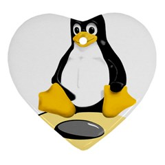 linux black side up egg Heart Ornament