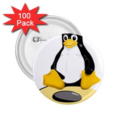 Linux Black Side Up Egg 2 25  Button (100 Pack)