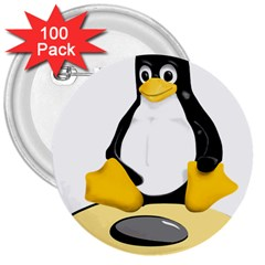linux black side up egg 3  Button (100 pack)