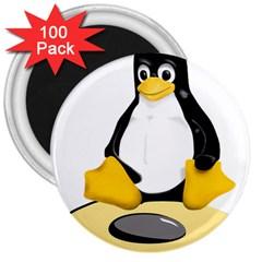 linux black side up egg 3  Button Magnet (100 pack)